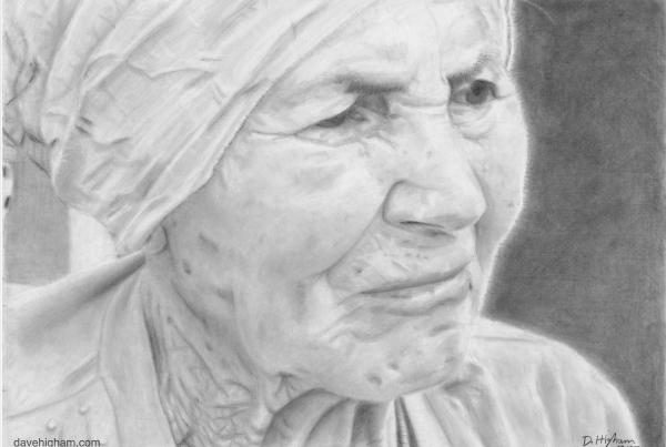 A portrait of my partners grandma Aniela Borowiec drawn with a 2B mechanical pencil.