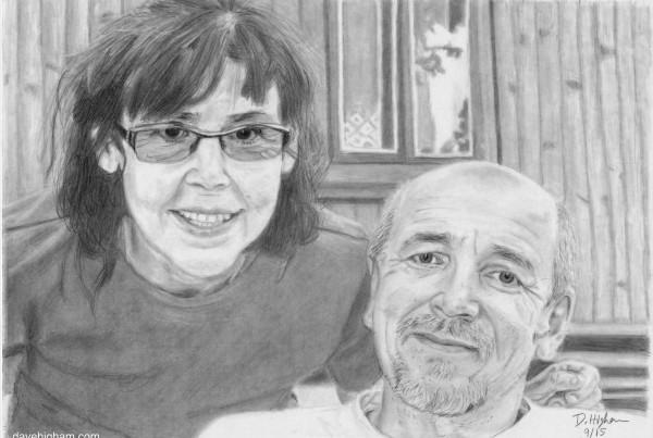 A portrait of my partners parents Zenek and Irene. Drawn with a mechanical 2B pencil.
