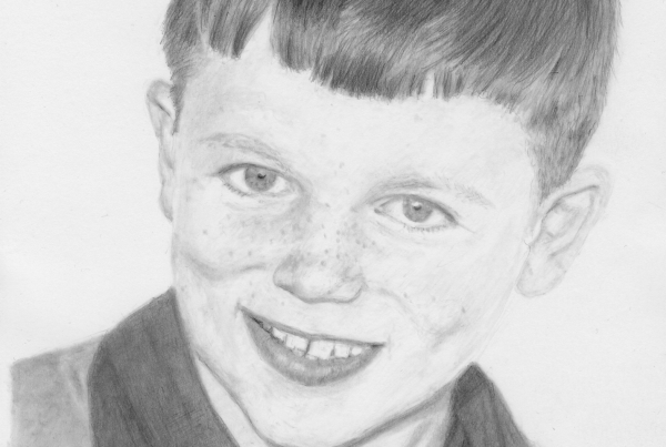 A portrait of my partners father as a child, Zenek. Drawn with a mechanical 2B pencil.