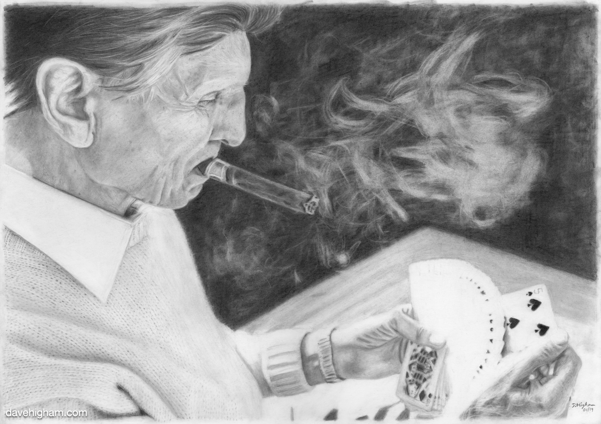 A pencil portrait of the magician Ed Marlo by Dave Higham.