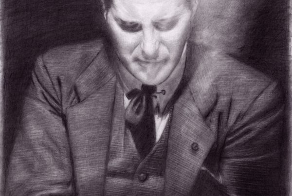 A pencil portrait of the magician Dai Vernon